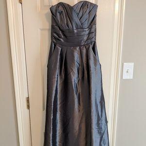 Floor length metallic bridesmaids dress
